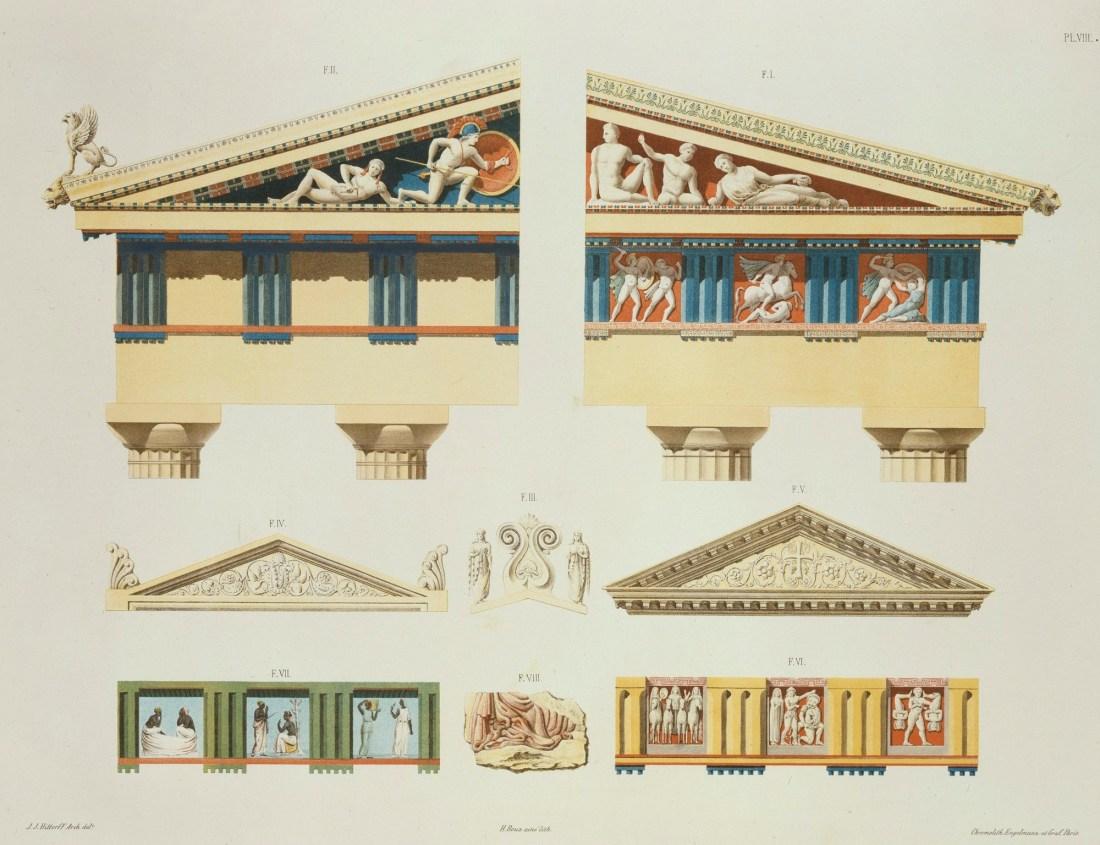 """""""Façades partielles du Parthénon et du temple d'Égine, avec la coloration que ces monuments avaient conservée; frontons, frises et autres fragments d'architecture."""" Plate VIII. 1851."""