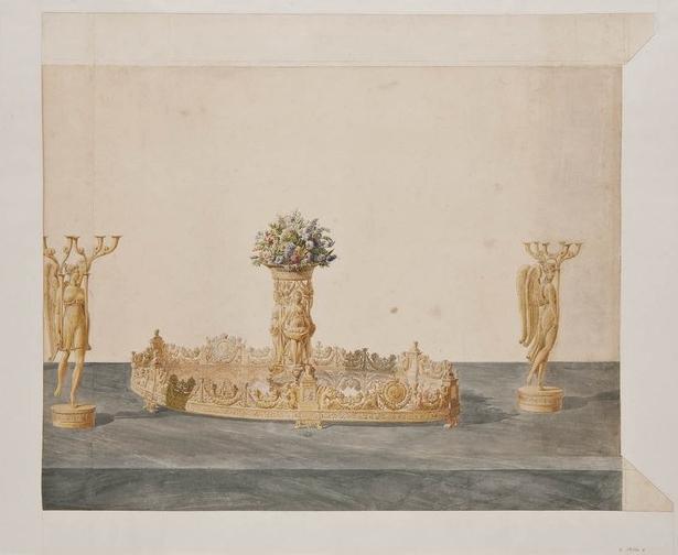 Design for a surtout de table (centerpiece). 1814-1830.