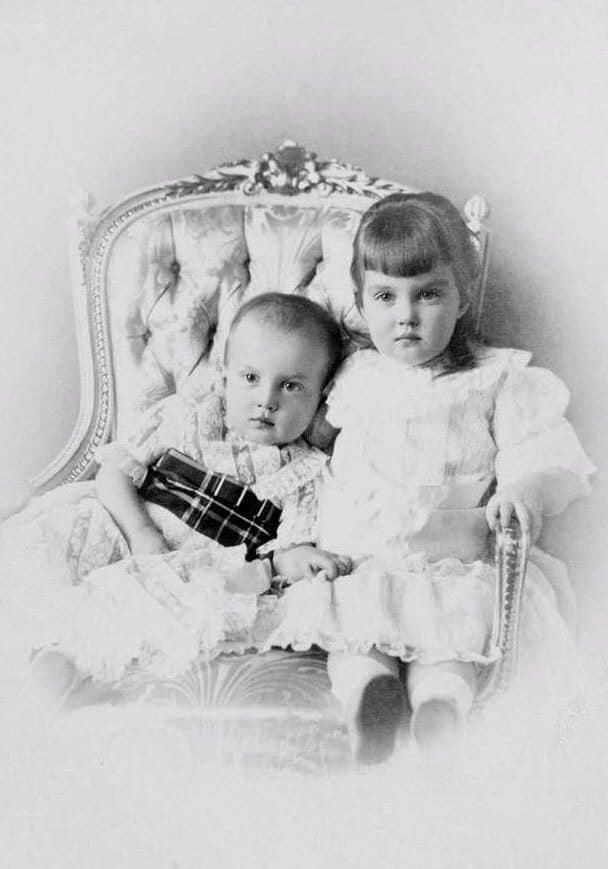 Romanov children Grand Duke Dmitri Pavlovich and his sister Grand Duchess Maria Pavlovna the Younger. ca. 1892.