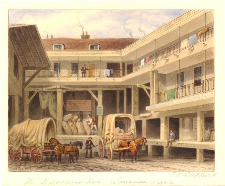 """""""Blossom's Inn, Lawrence Lane."""" 1850."""
