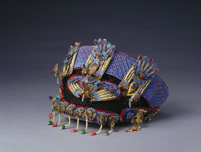 Festive headdress with phoenixes and peonies.