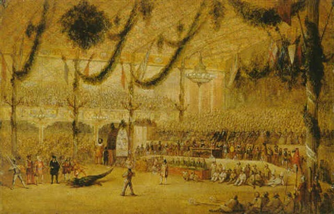 """""""The great exhibition at Crystal Palace, with the pageant of St. George and the dragon."""" 1860's."""