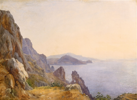 """View of Capri with the Arco Naturale."""