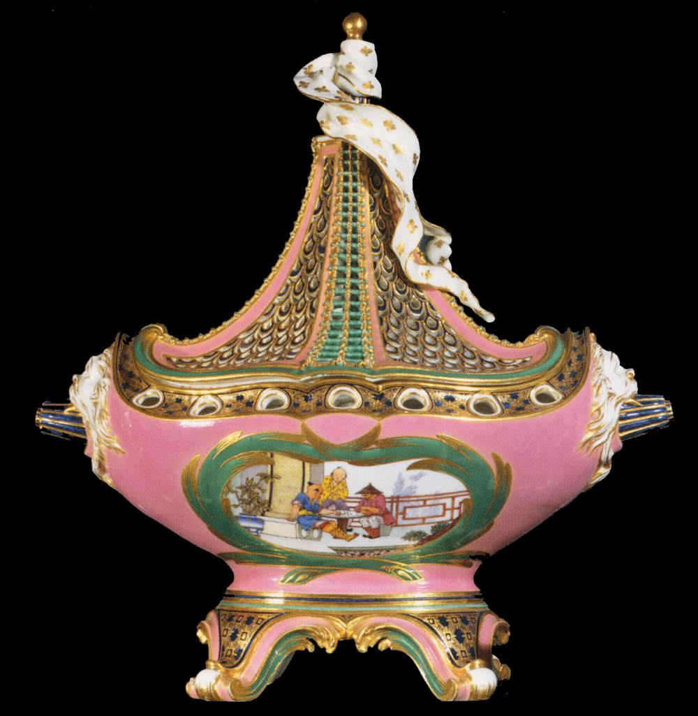 Ship pot-pourri with pink ground and Chinese decor. c. 1760.