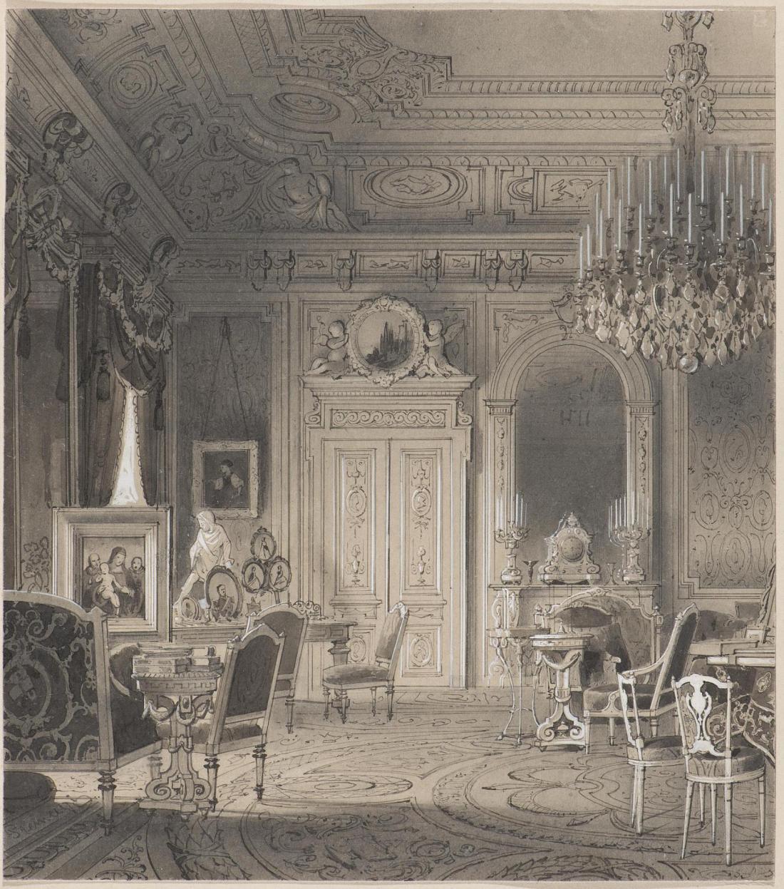 Study of Tsesarevna Maria Feodorovna in the Anichkov Palace in Saint Petersburg. Drawing. 1867.