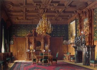 Dining room (chandelier detail), mansion of Baron A. L. Stieglitz. ca. 1869.