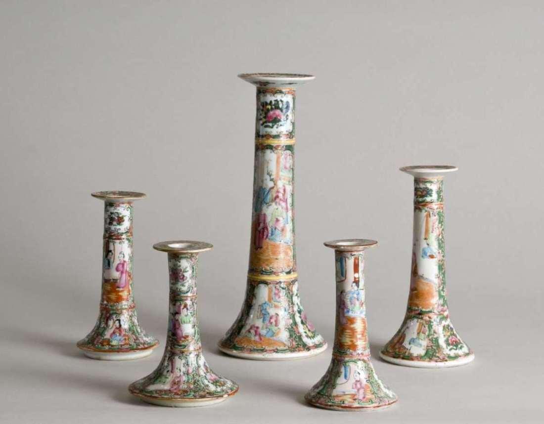 Rose medallion candlesticks. Antique.