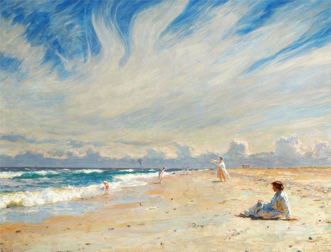 """""""Seaside life on Skagen beach in the midday Sun."""" 1909."""