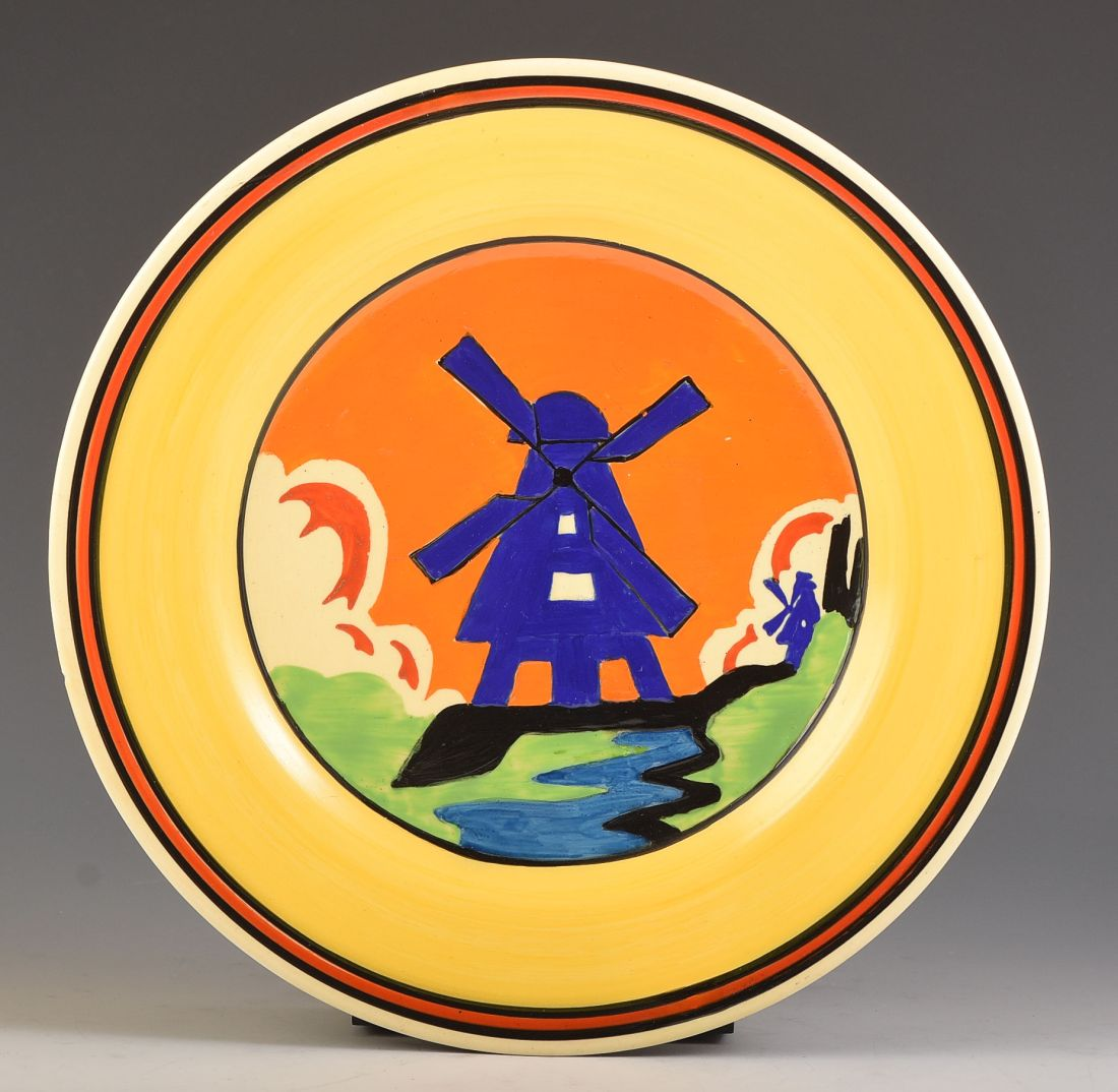 """""""Windmill"""" plate with Applique banding.  ca. 1930."""