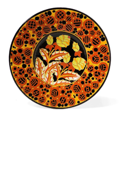 """Large wall dish with shimmering multicolored floral decoration."""""""
