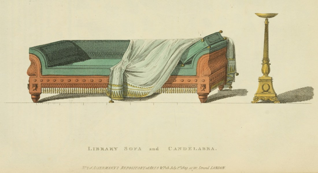 """""""Library sofa and candelabra."""" 1809."""