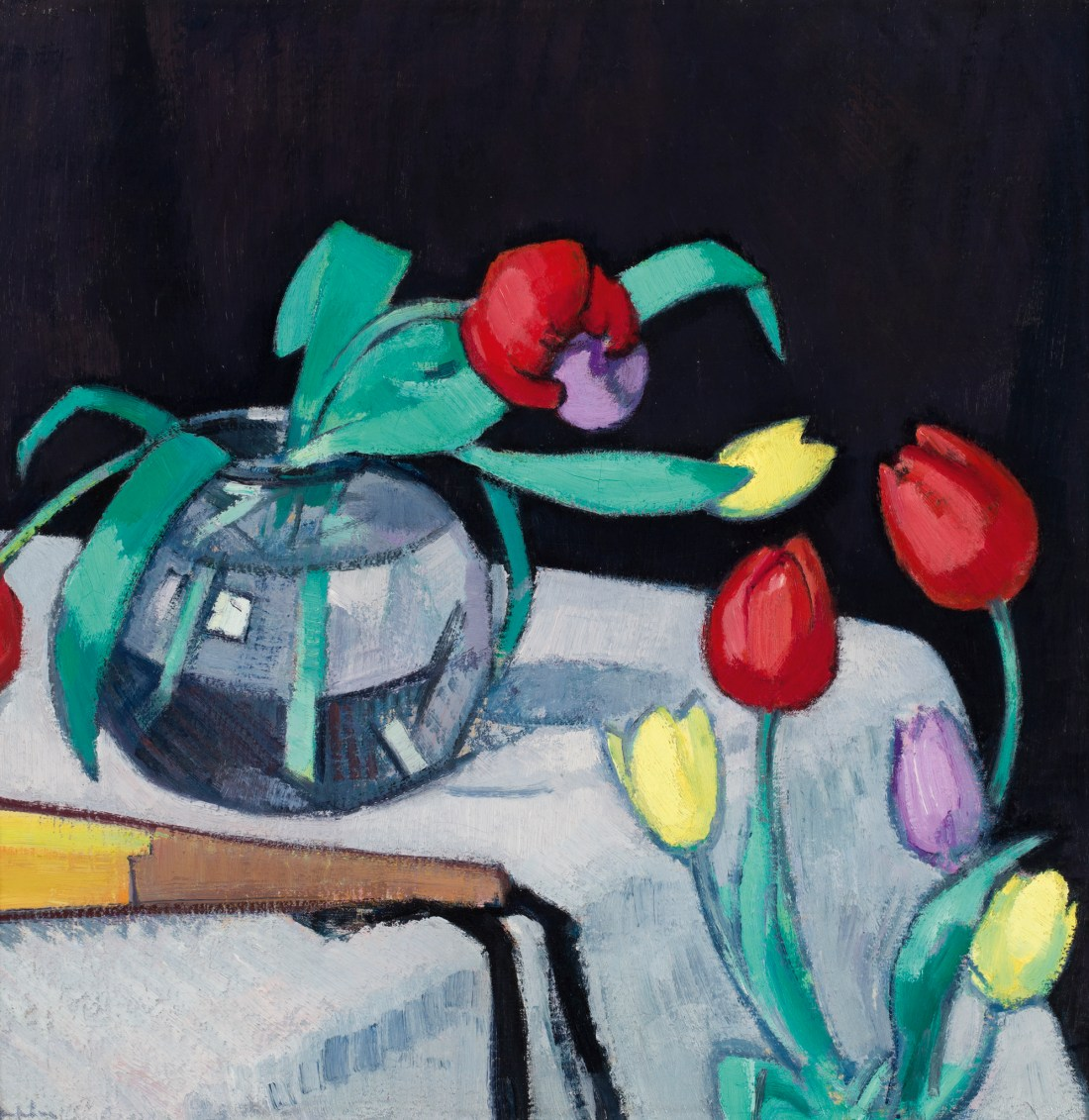 """""""Still life with Tulips on a Black Background. No date."""