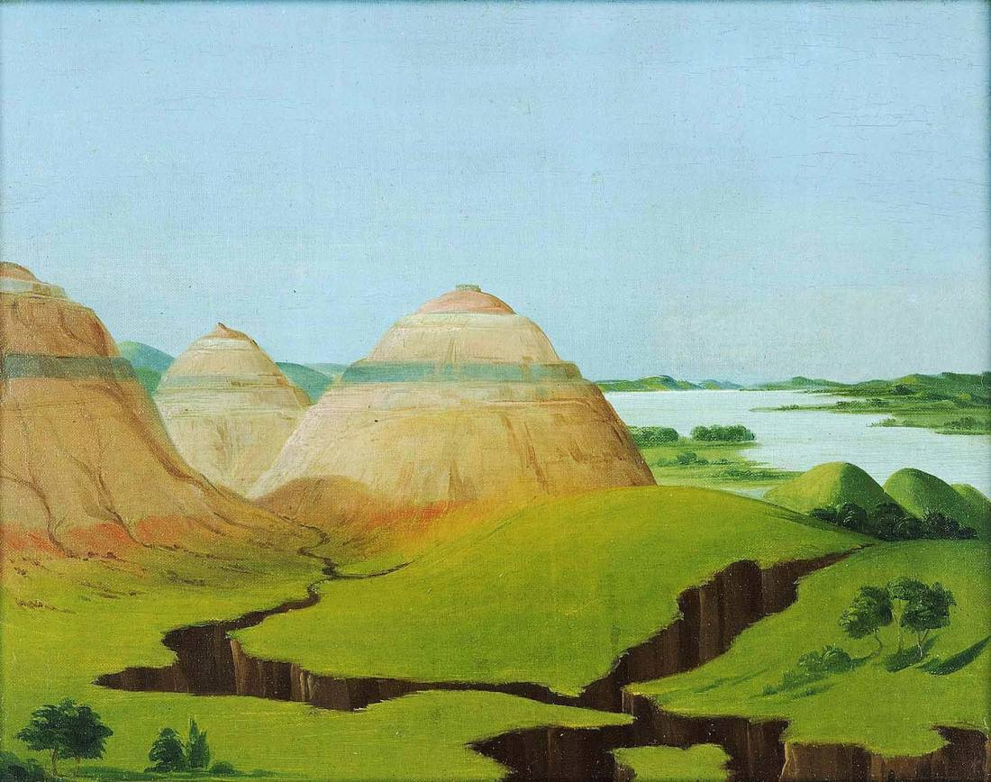"""The Three Domes, Clay Bluffs 15 Miles above the Mandan Village."" 1832."