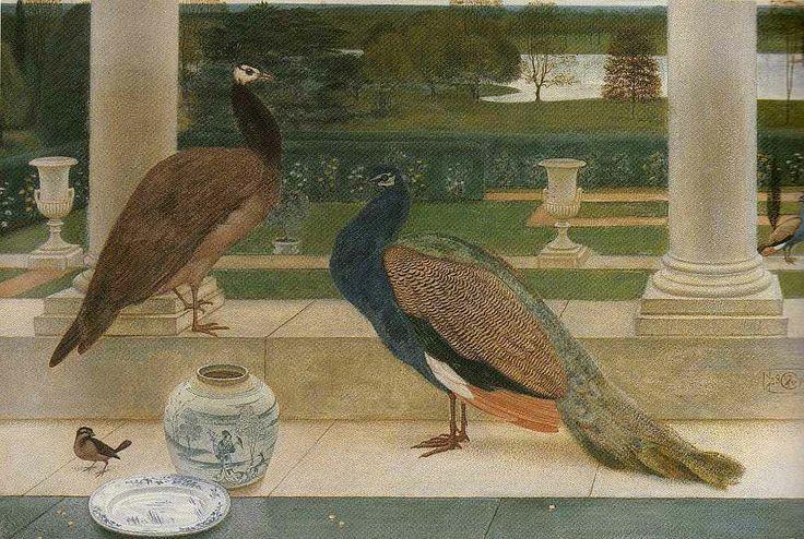 """Bluebeard and Gloriana"" - Peacocks on the terrace at Rode Hall, Cheshire. 1871."