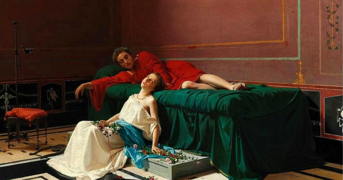 """""""Scène à Pompéi avec la servante aveugle Nydia et le Noble Glaucus."""" 1869."""