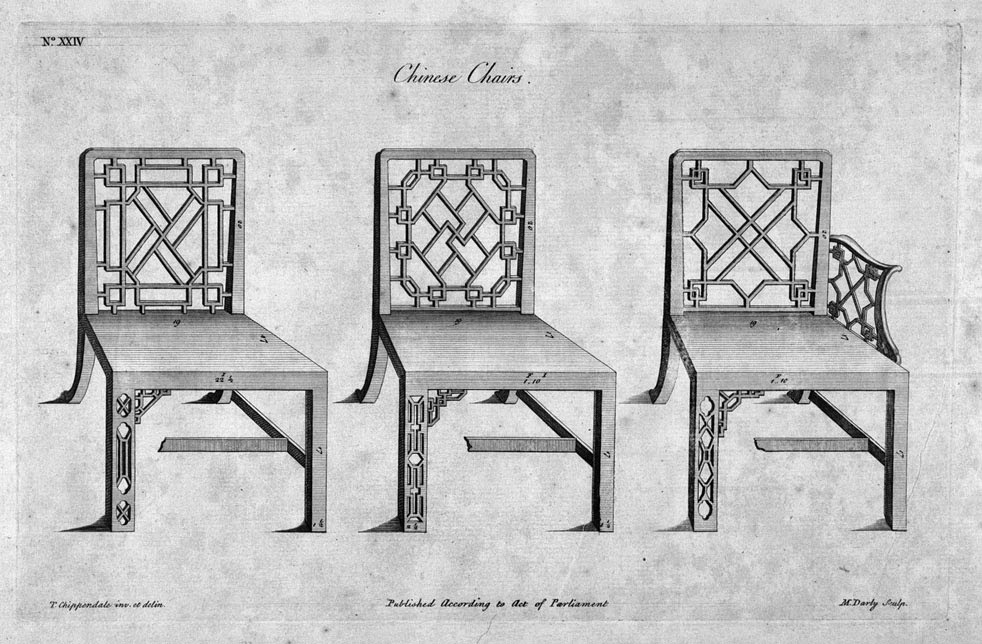 """Illustration of """"Chinese Chairs,"""" from """"Chippendale Drawings"""" Volume I. ca. 1753.-54."""