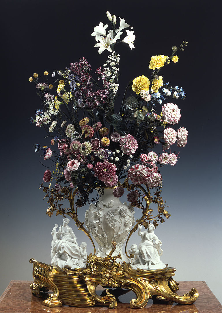Porcelain bouquet given to the Duke of Saxony by his daughter Marie Josèphe. 1749. Made in  Vincennes, France. Porcelain, gilded brass and copper. Has 470 artificial flowers with the porcelain underneath made to store perfume so the flowers could spread the scent.