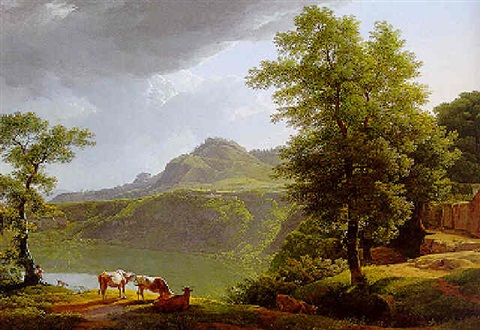 """""""Peasants and Cows by the Side of a Lake."""" 1813-1819."""