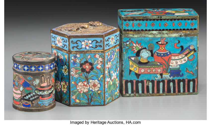 Opium boxes. Late Qing dynasty.