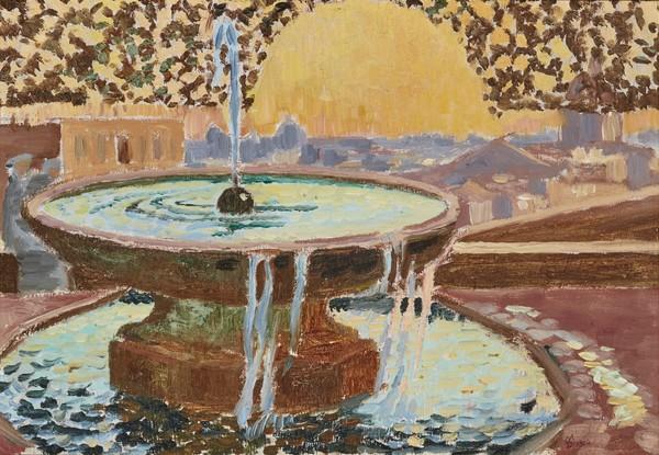 """Fountain at the Villa Medici."" 1904. Oil on layered cardboard."