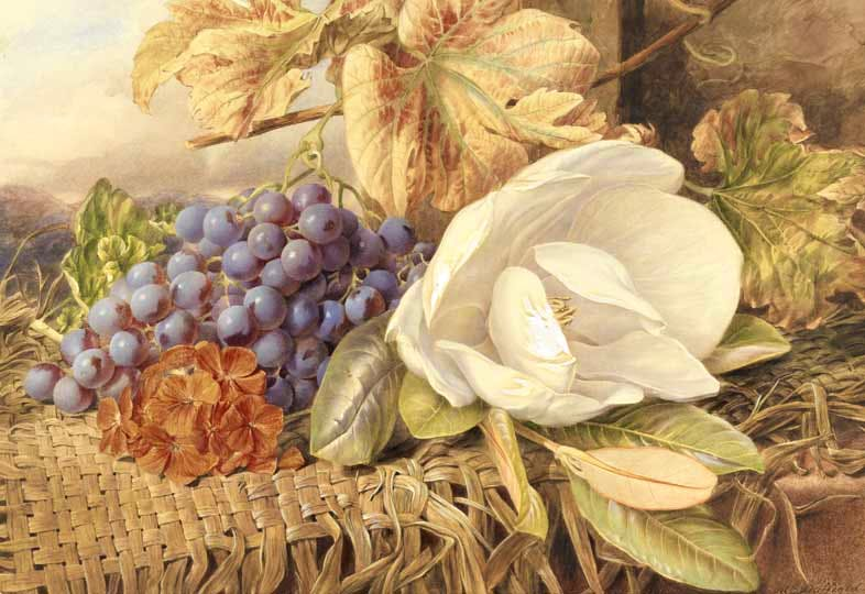 """""""Straw mat covered with fruit and flowers."""" No date."""