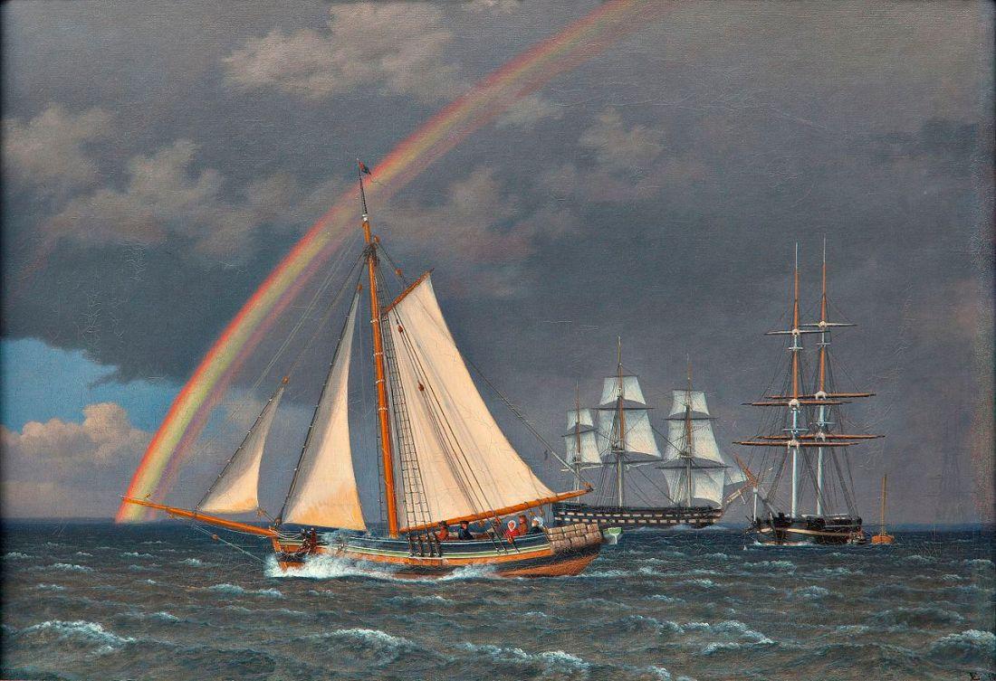 """""""Regnbue på søen, en krydsende jagt med nogle andre skibe"""" (Rainbow at Sea with some cruising Ships). 1836."""