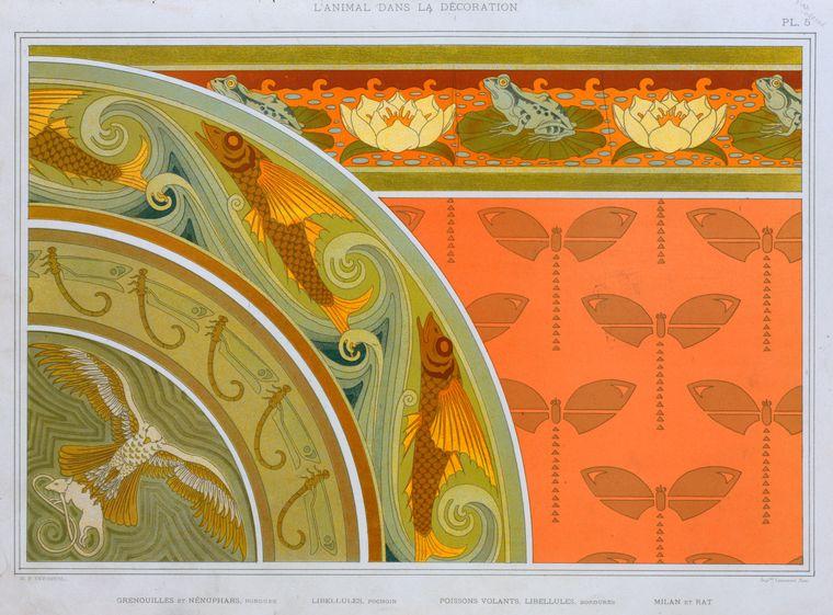 """""""Grenouilles et nénuphars, bordure; libellules, pochoir; poissons volants, libellules, bordures; milan et rat."""" Plate 5."""