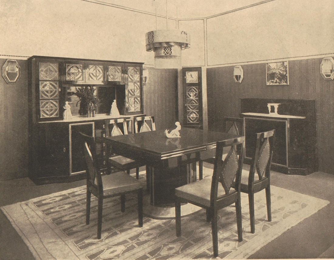 Room with macassar ebony with gold and blue leather. 1909.