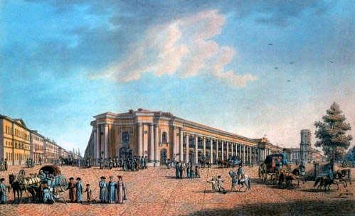 """""""The Great Gostiny Dvor at the intersection of Sadovaya Street and Nevsky Prospekt."""" ca. 1800."""