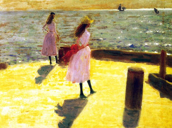 """Two girls on a Pierhead Walberswick."" ca. 1887."
