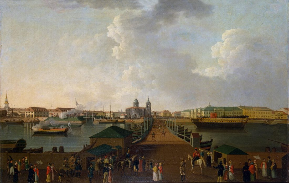 """""""View of Saint Petersburg in the centenary celebration's day."""" ca. 1803."""