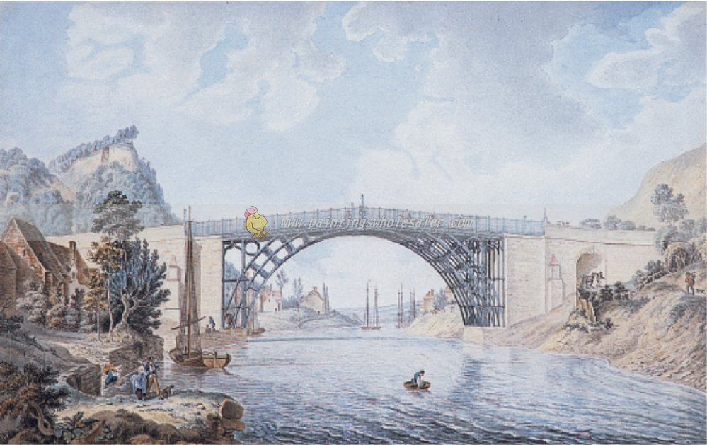 """""""The cast Iron Bridge at Coalbrookdale."""" ca. 1781-1801."""