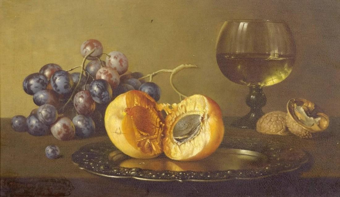 """""""Stillleben mit Pfirsichen, Trauben und einem Weinglas."""" No date."""