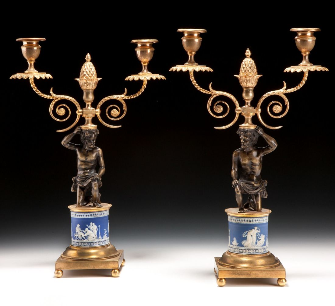 Pair of ormolu mounted candelabra with drum bases. ca. 1810.