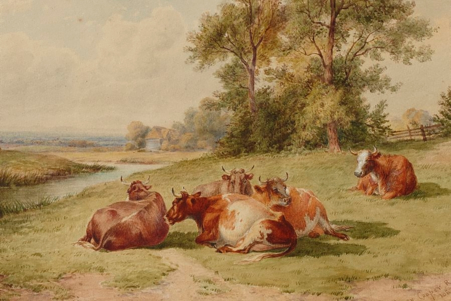 """""""Landscape with cattle."""" 1887."""