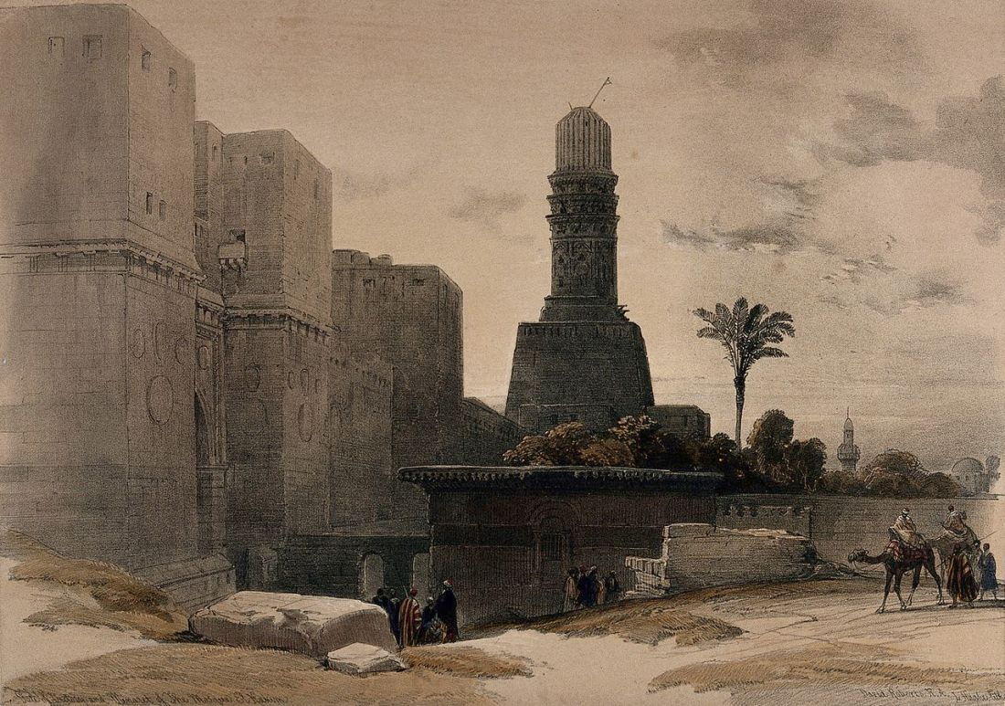"""""""The mosque of El Hakim and environs, Cairo."""" 1849."""