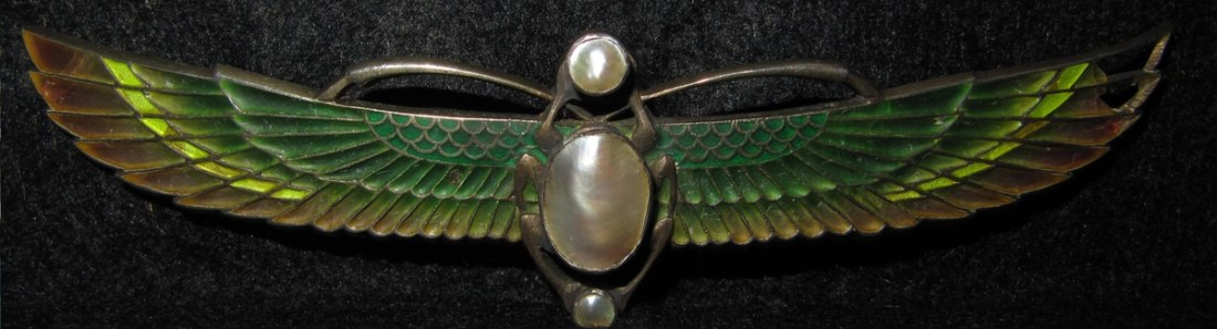 Brooch. Early 20th c. Egyptian Revival. Enamel and pearl.