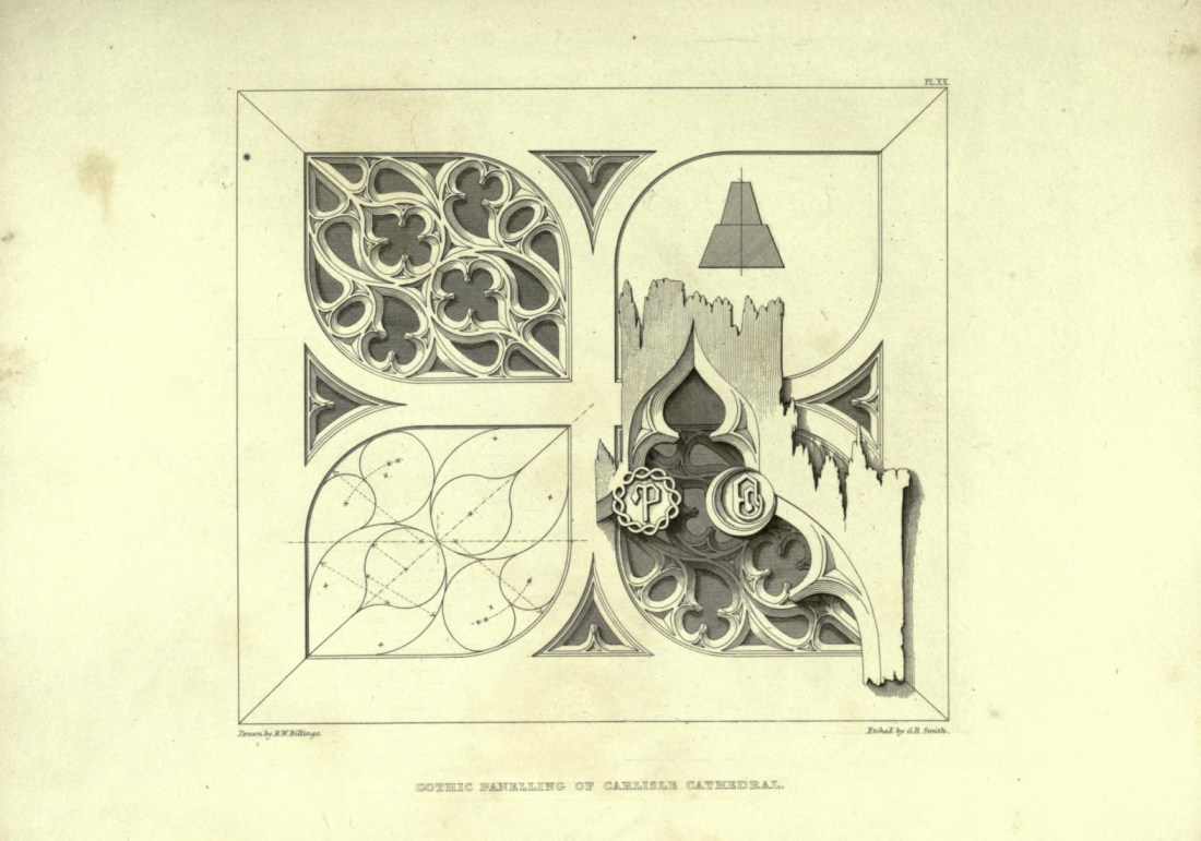 """""""Gothic Panelling of Carlisle Cathedral."""" Page 53."""