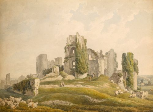 """""""View of Caerphilly Castle, South Wales."""" 1796."""