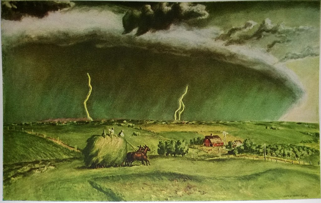 """""""The Line Storm."""" 1935. Oil on panel."""