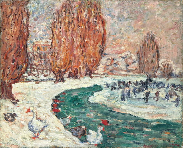 """""""Skaters in Winter."""" ca. 1900. Oil on canvas."""