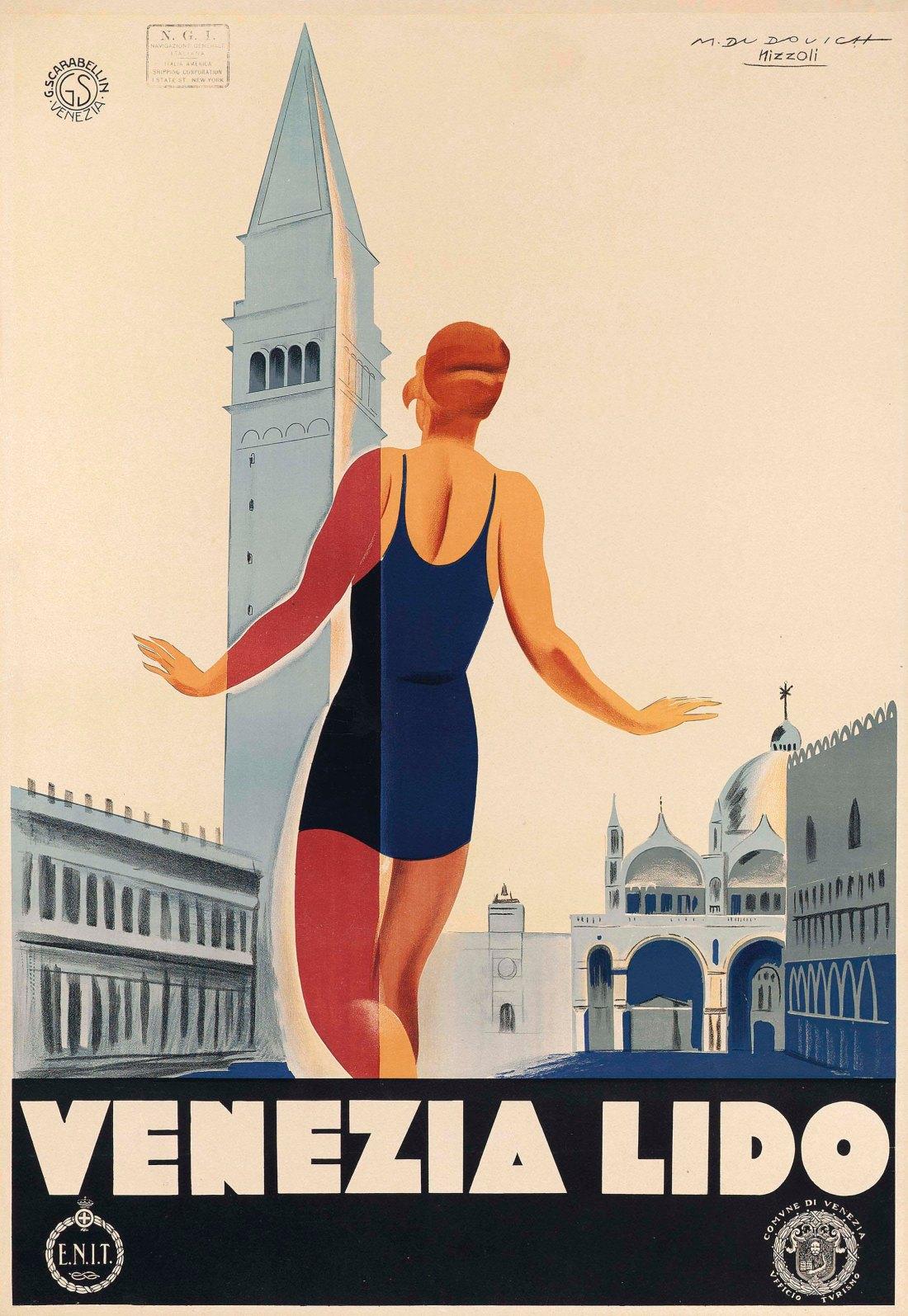 """Venezia Lido."" ca. 1930. Color lithograph."