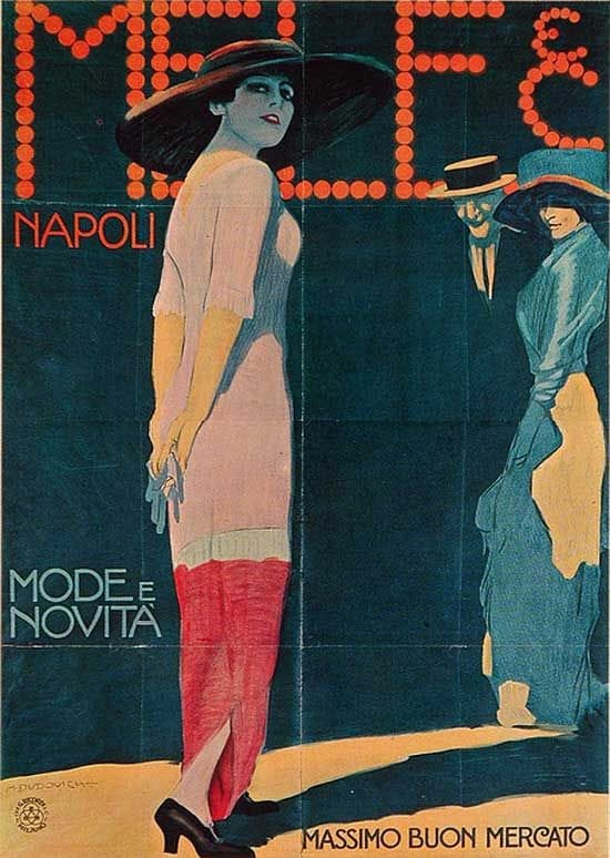 Poster advertising fashions and new products done for the Mele fashion store, Naples. 1912.