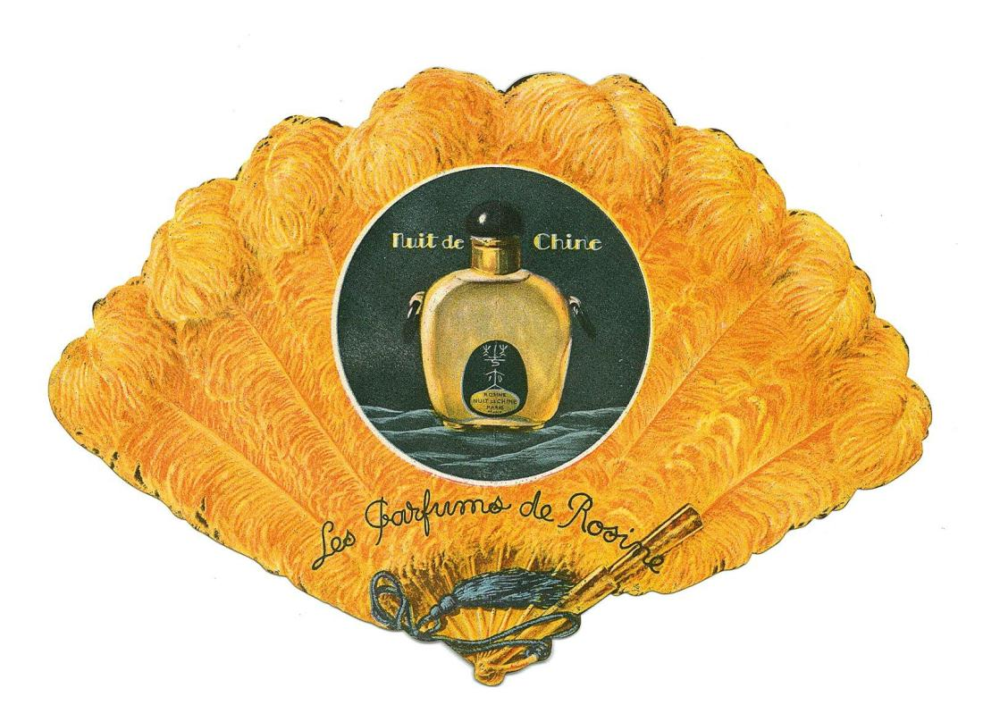 Advertising  card in the motif of a feather fan