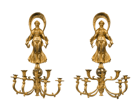 """Pair of """"Psyche and Cupid"""" seven-light wall sconces. ca. 1810."""