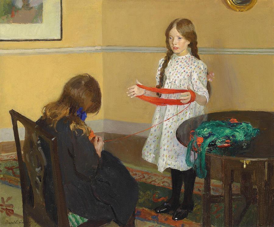 Girls knitting.