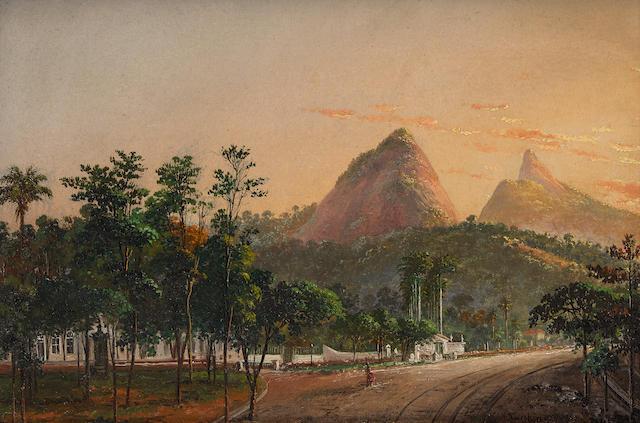 """""""A view of Rio de Janeiro from Barrio Cosme Velho."""" 1885."""