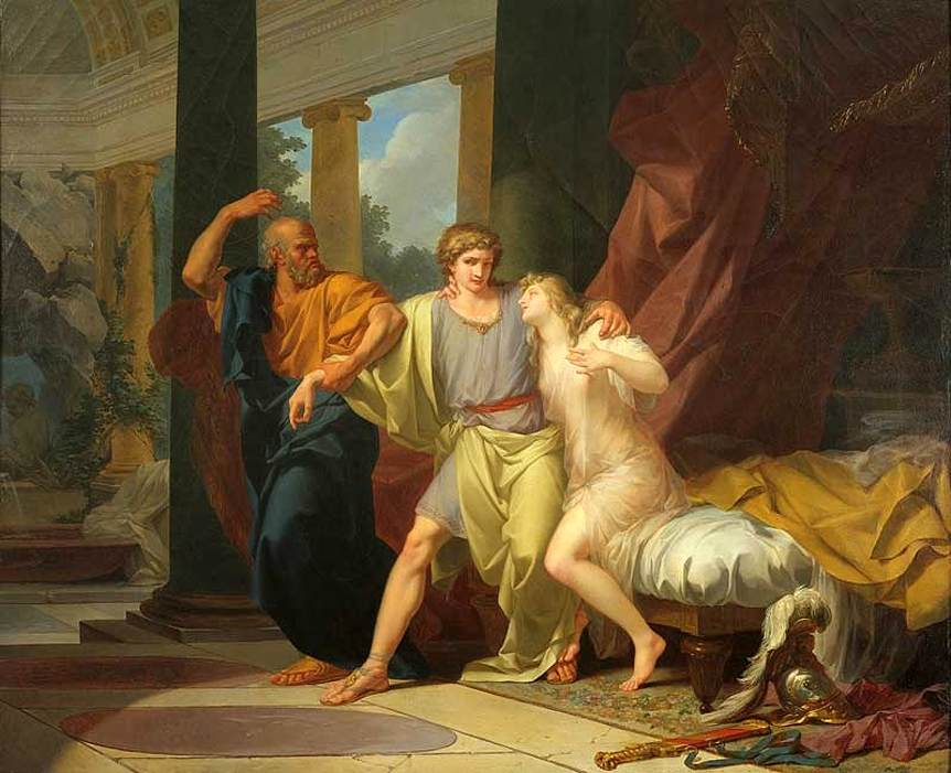 """""""Socrates Dragging Alcibiades from the Embrace of Aspasia."""" 1785."""