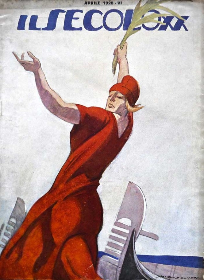 """Cover for the April 1928 issue of the illustrated magazine """"Il Secolo XX.""""1928."""