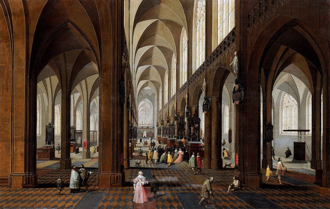 """""""The Nave of Antwerp Cathedral."""" 1650-1700."""